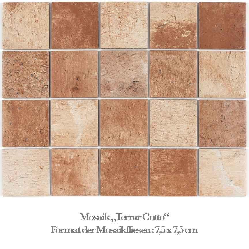 Mosaik in der Farbe Terracotta