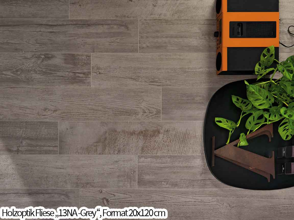 rustikale graue Holzoptik-Fliese in 120cm Länge für den perfekten Scandi-Look