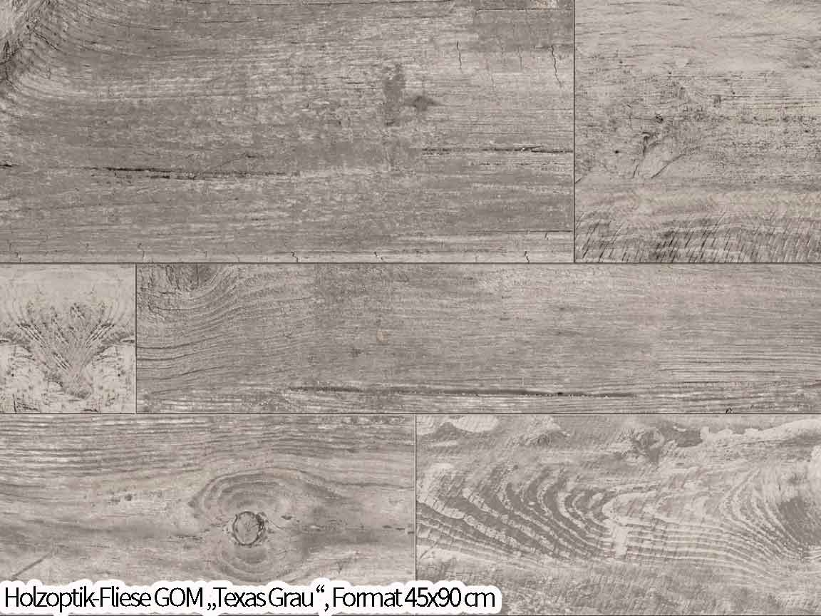 """Holzoptik Fliese """"Texas Grau"""" im Format 45x90 bildet einen Holz Mischverband nach"""