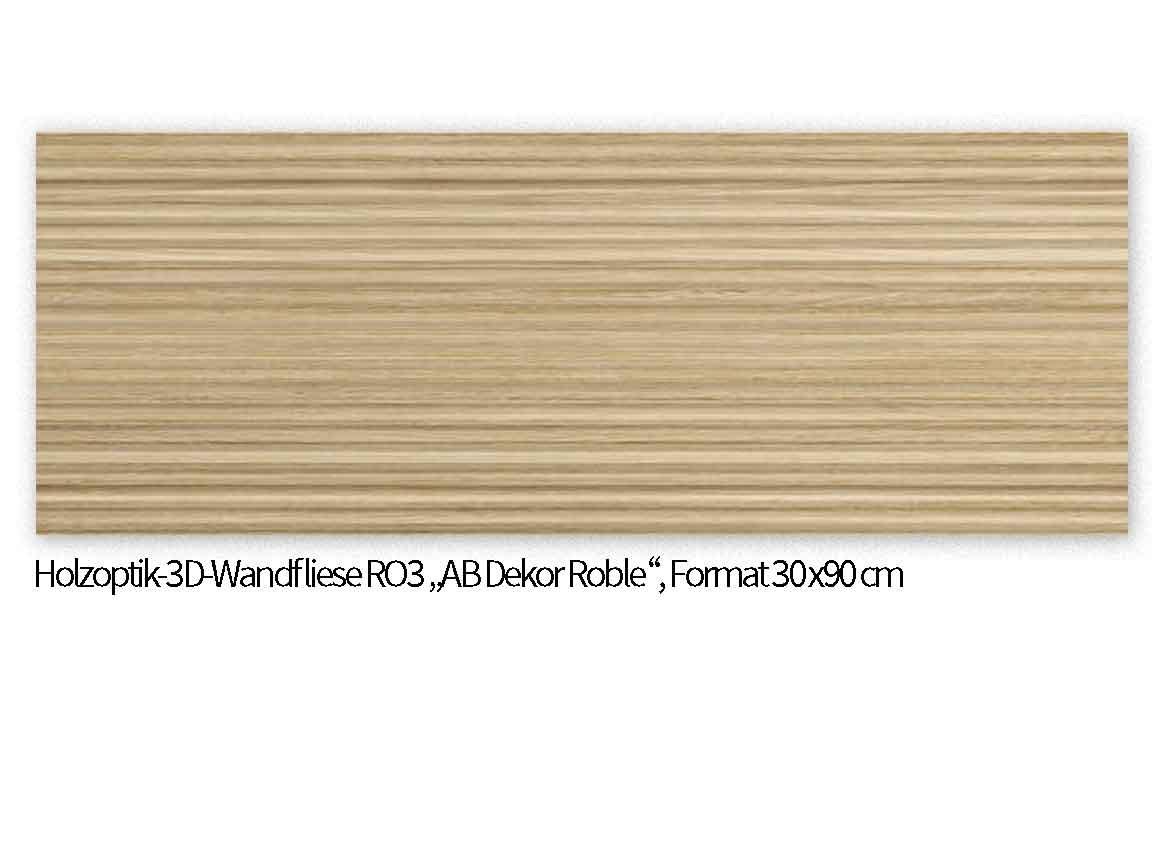 "Holzoptik-Wandfliese ""AB Roble"" mit 3D-Effekt im Format 30x90 cm"