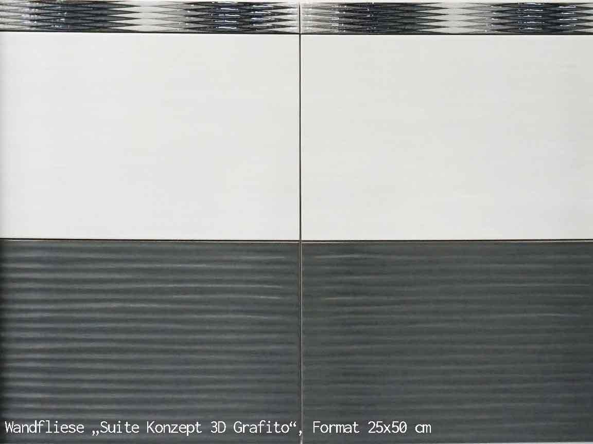 """3D-Wandfliese """"Suite Konzept 3D Grafito"""" im Format 25x50cm"""