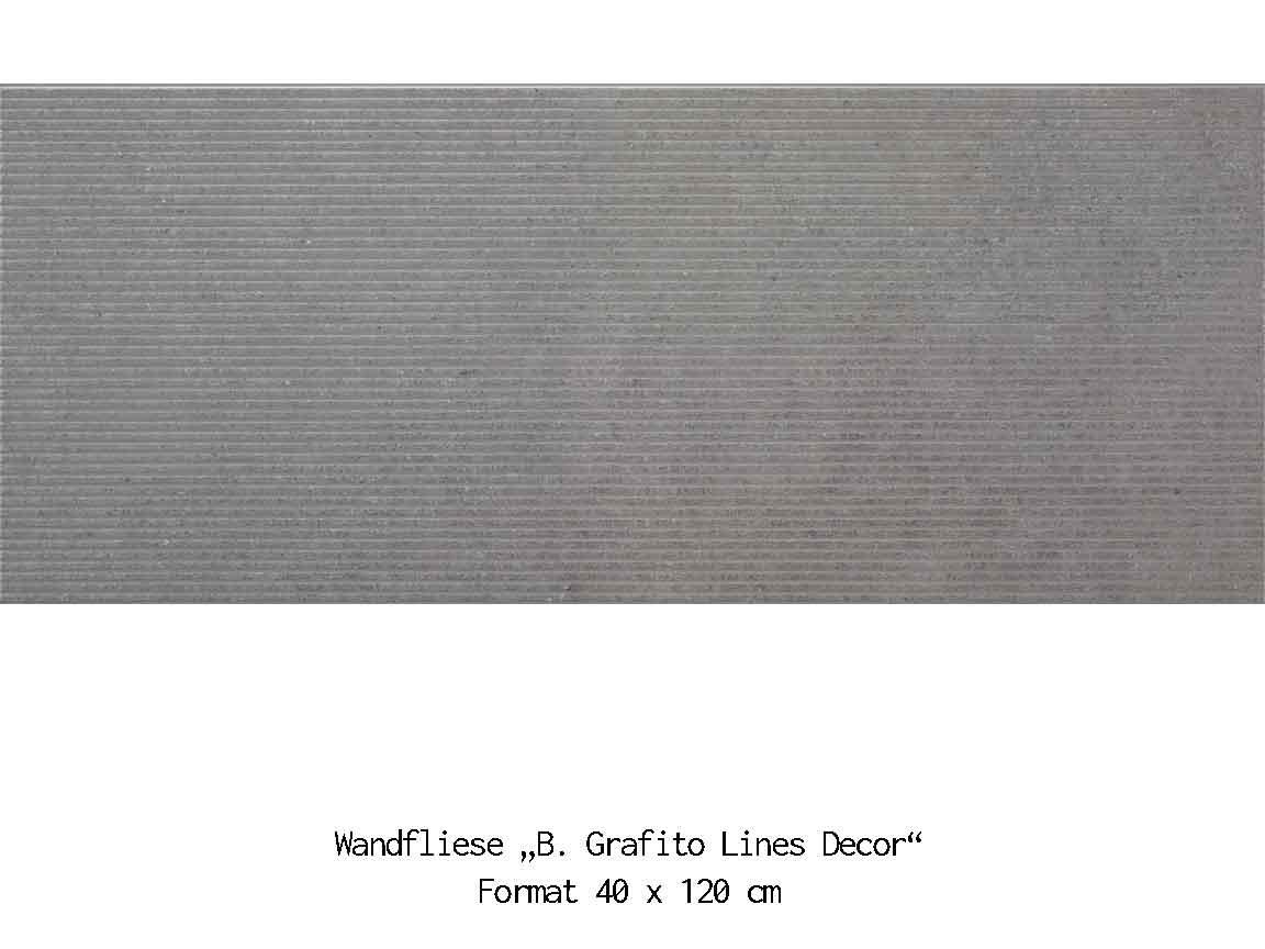 "Die 3D-Wandfliese ""B. Grafito Lines"" im Format 40x120cm passt optimal zu Betonoptik-Fliesen"