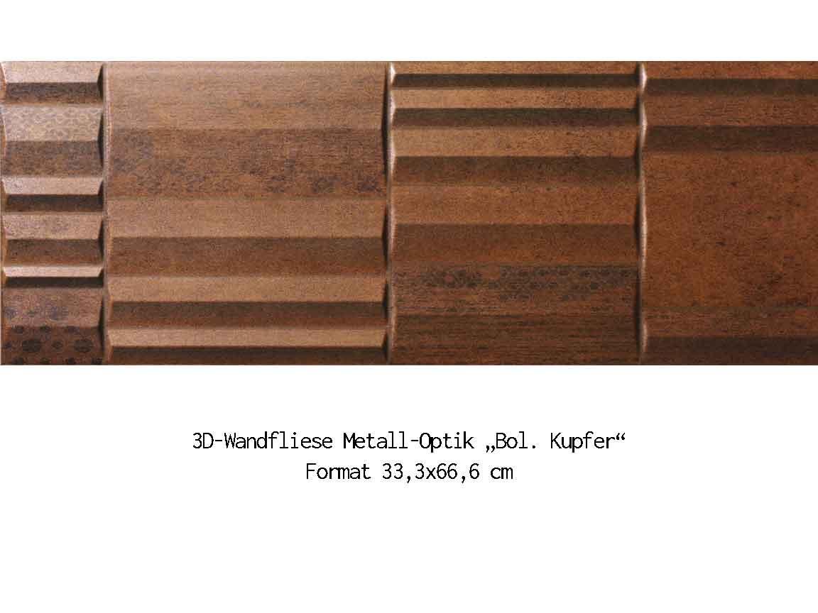 "3D-Wandfliese Metalloptik ""Kupfer"", Format 33,3x66,6cm"