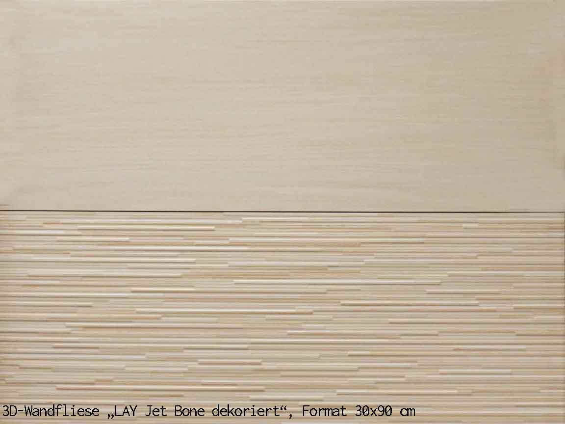 "3D-Wandfliese ""LAY Jet Bone Dekor"", Format 30x90cm"