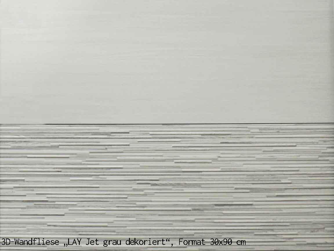 """3D-Wandfliese """"LAY Jet grau Dekor"""", Format 30x90cm"""
