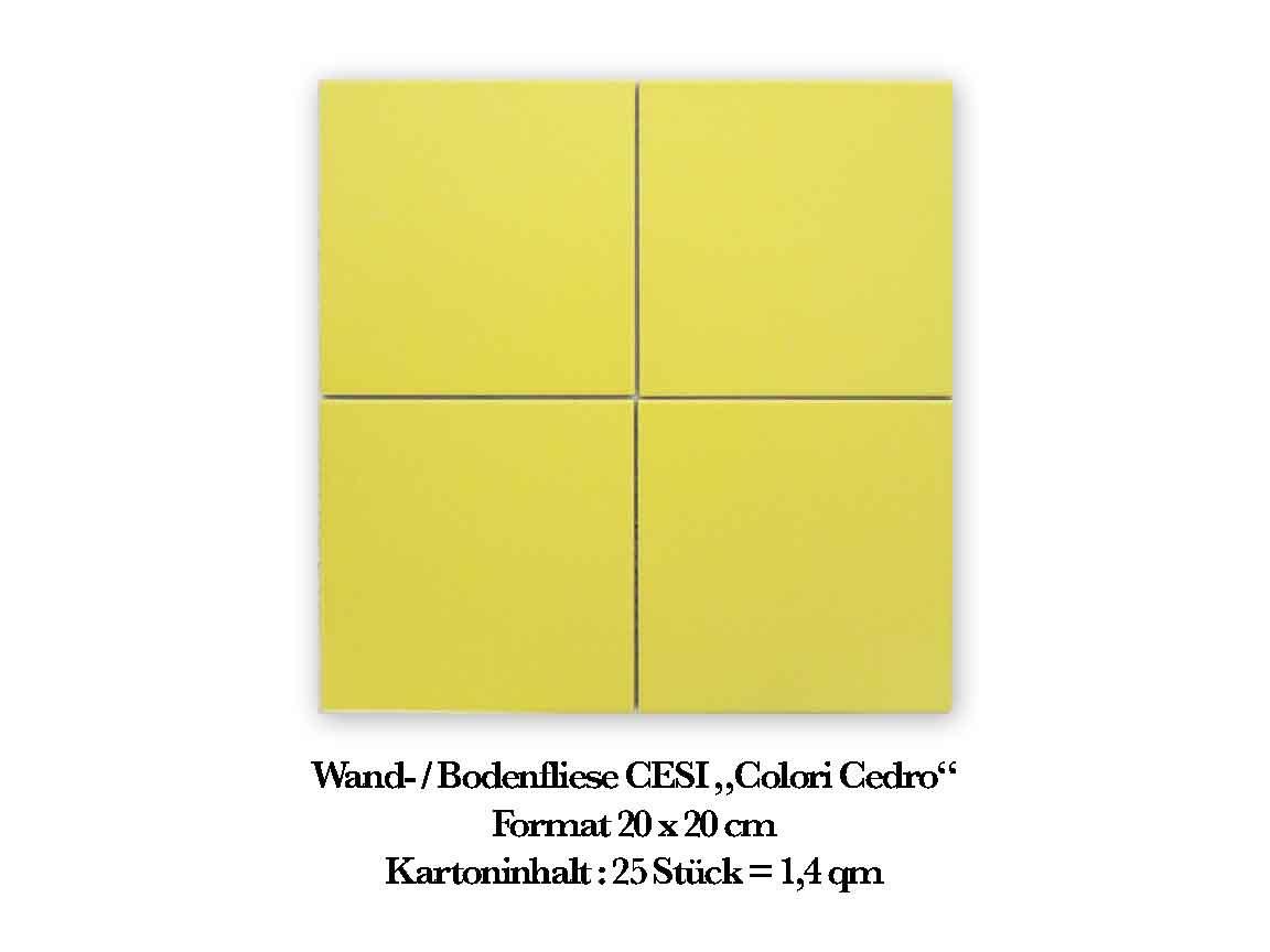 "Wand- /Bodenfliese CESI ""Colori Cedro"", Format 20x20 cm"