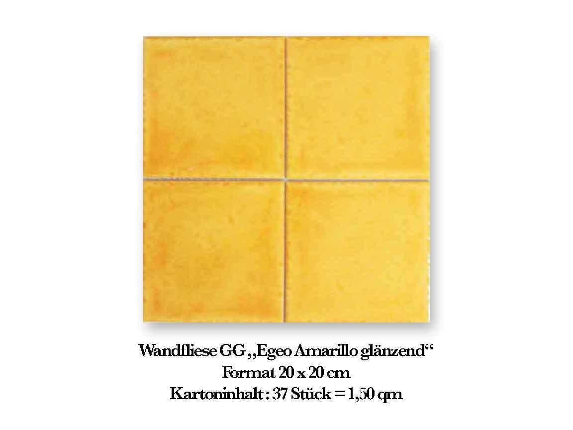 """Wandfliese GG""""Egeo Amarillo glänzend"""", Format 20x20 cm"""