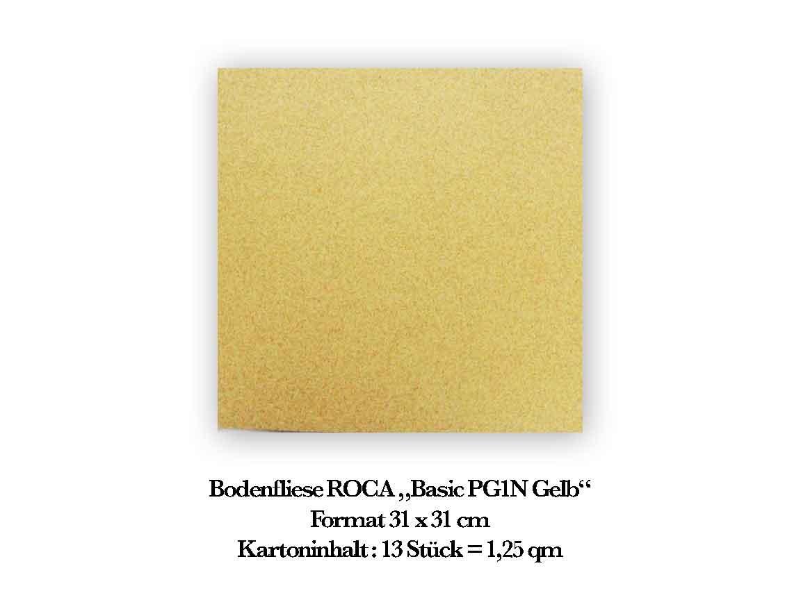 """Bodenfliese ROCA """"Basic PG1N Gelb"""", im Format 31x31 cm"""
