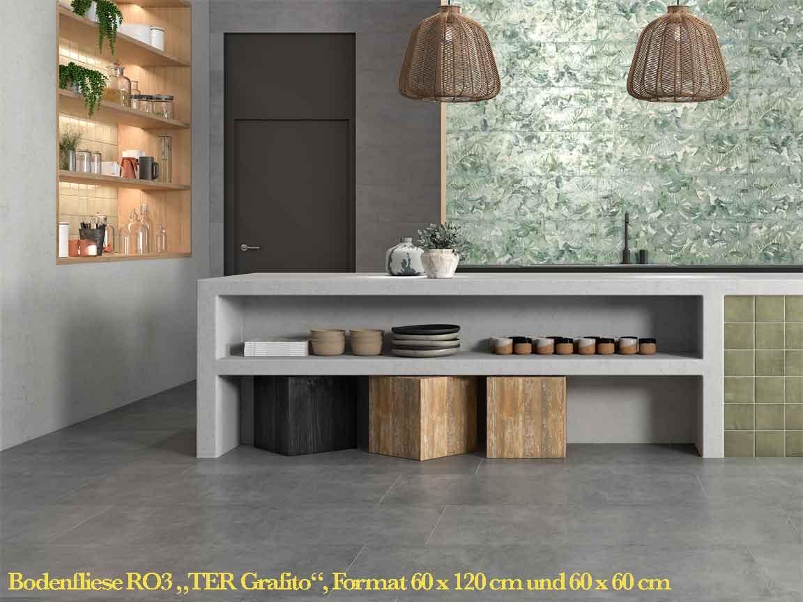 """Bodenfliese RO3 """"TER Grafito"""", Format 60x120 cm und 60x60 cm"""