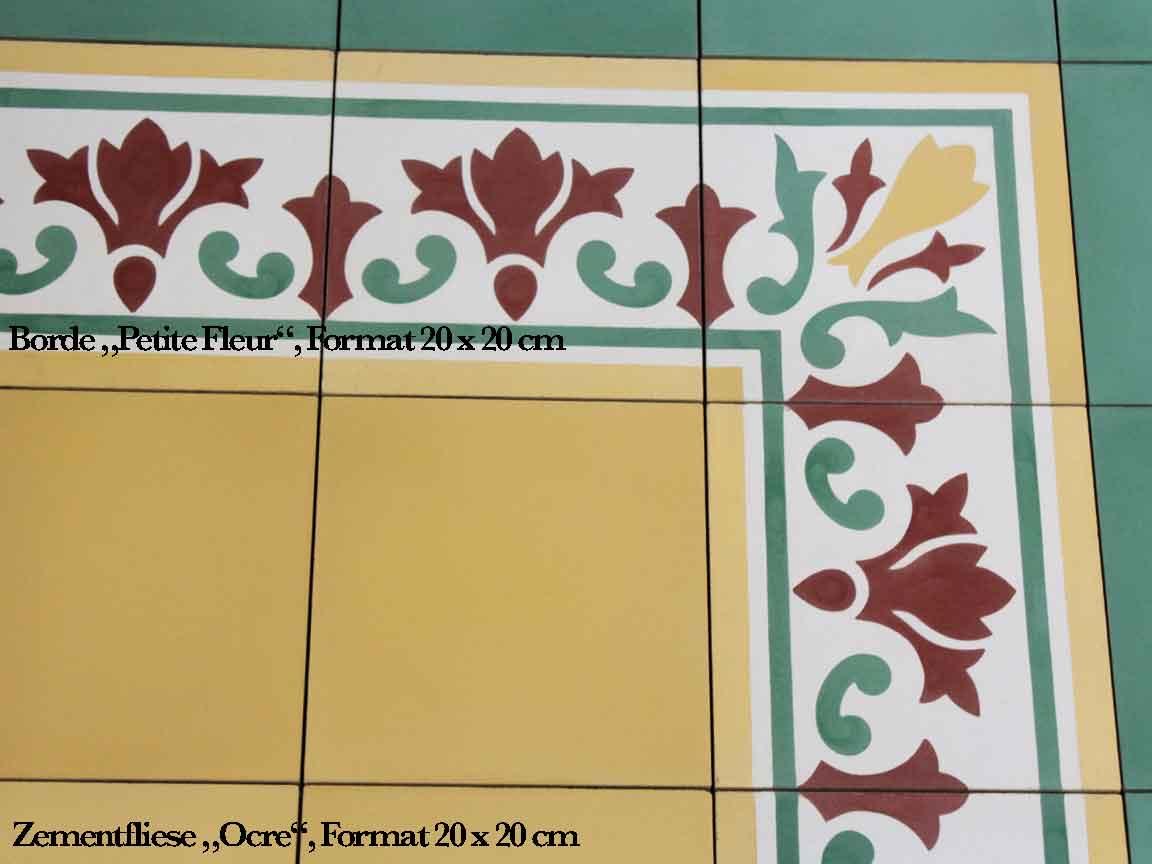 """gelbe Zementfliese """"Ocre"""" im Format 20x20cm mit passender floraler Bordüre """"Petite Fleur"""""""