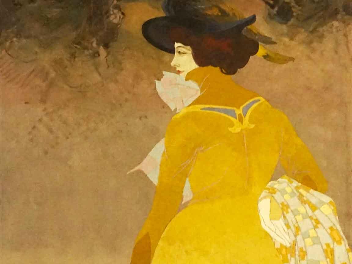 Pantone 2021 Illuminating und Ultimate Gray : Bildausschnitt einer Jugendstil Auftragsarbeit von Georges de Feure, um 1900, gesehen im Museum d`Orsay/Paris