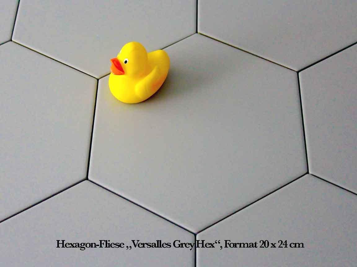 "uni-graue Hexagon Fliese ""Versalles Grey Hex"", im Fomat 20x24 cm"