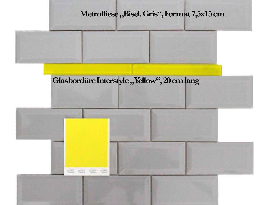 """graue Metrofliesen im Format 7,5x15cm mit Glasbordüre Interstyle """"Yellow"""""""
