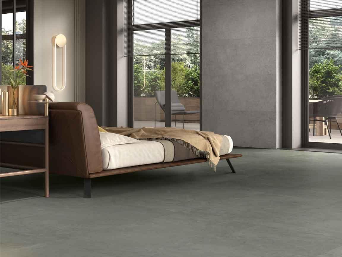 farbige Bodenfliesen werden 2021 zu einem Trend! Schlafzimmer mit einer Bodenfliesen in Verde